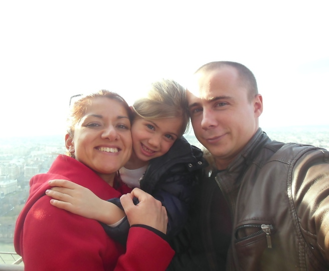 Familiefoto op de Eiffeltoren